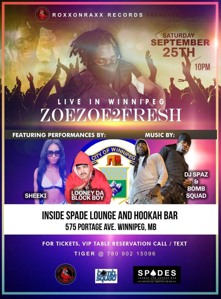 hiphop artist in Winnipeg concert flyer